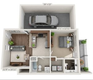 A 3D floorplan of the 1 bedroom layout at The Villas at Lavinder Lane