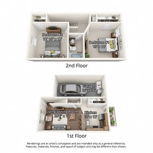 2 bedroom floorplan with garage