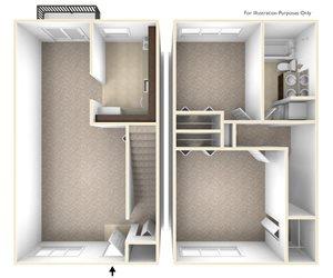 Two Bedroom Townhouse Floor Plan Williamsburg Estates Apartments