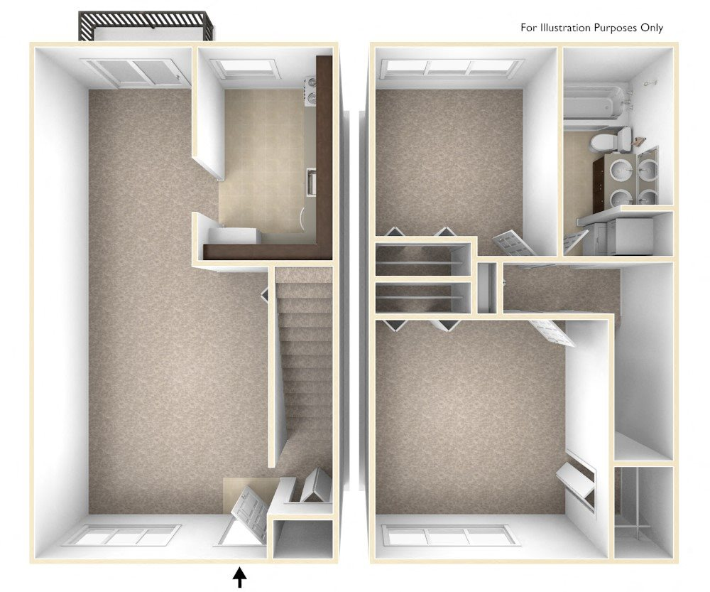 Two Bedroom Townhouse Floor Plan Williamsburg Estates Apartments