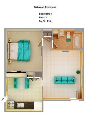 1 Bedroom 1C