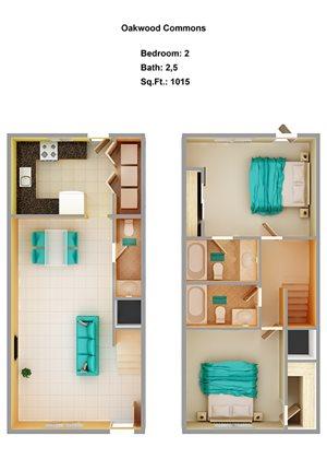 2 Bedroom + 2.5 C