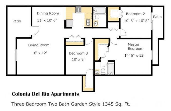 Colonia - Cottonwood Floorplan at Colonia and Hacienda Del Rio Apartments in Tuscan, AZ