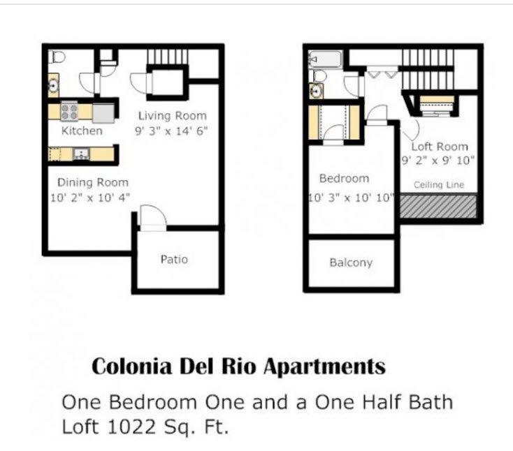 Colonia - Blue Spruce Floorplan at Colonia and Hacienda Del Rio Apartments in Tuscan, Arizona