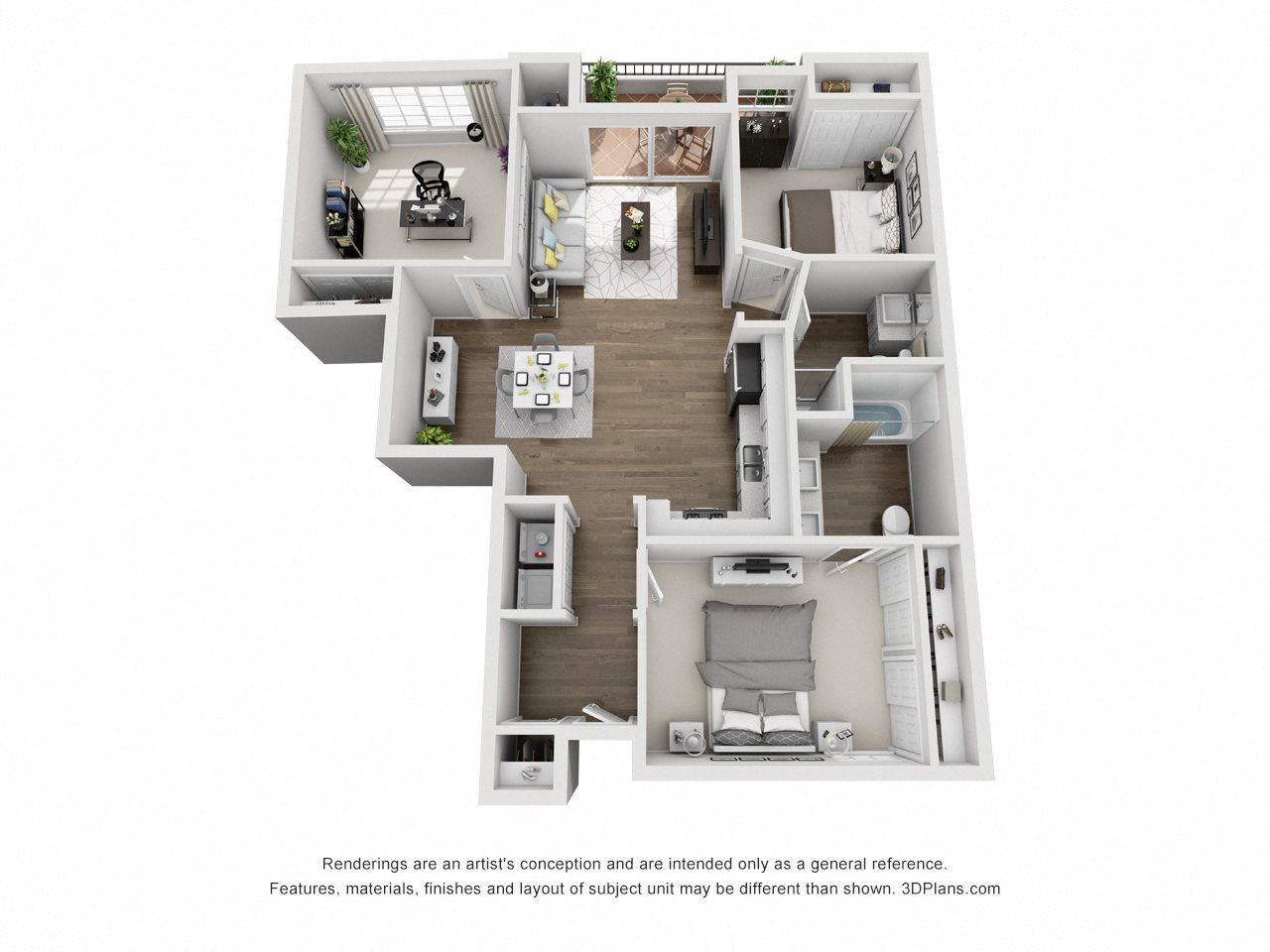 3 Bed 2 Bath B Floor Plan 3