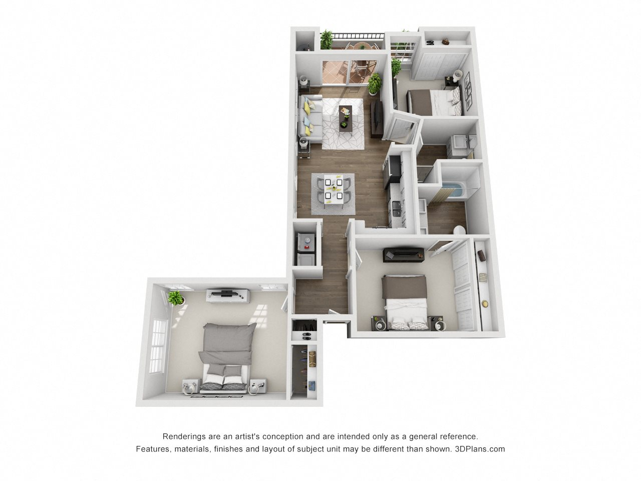 3 Bed 2 Bath E Floor Plan 4
