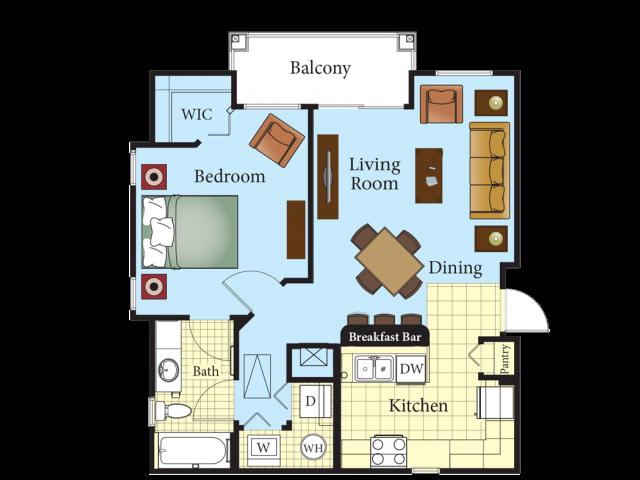 One Bedroom Carriage Floor Plan 1