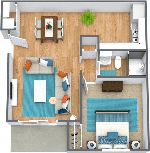 Three dimensional rendering of a one bedroom floor plan at Johnson Med Center apartments in Kansas, Kansas