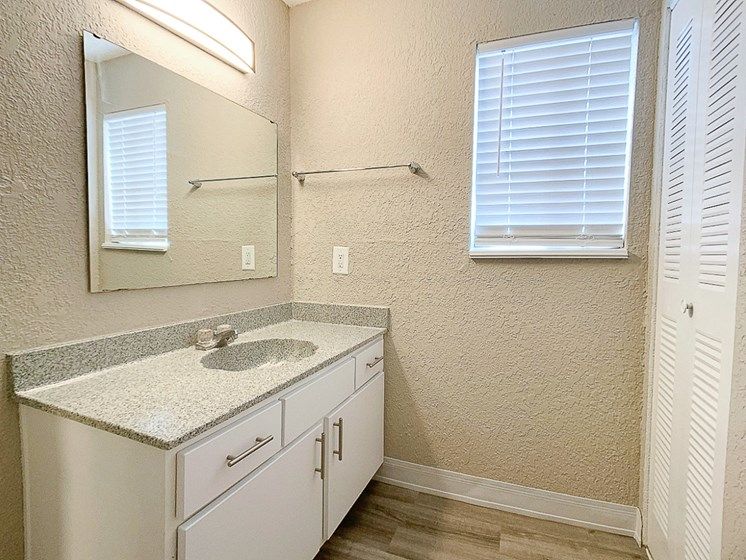 Large bathroom with spacious vanity and closet