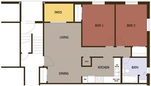 Eco 2 Bedroom 1 Bath at Johnson Med Center Apartments, Kansas, 66103