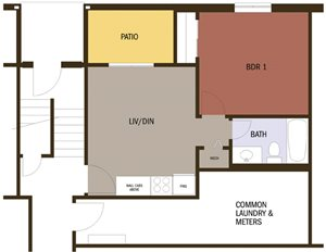 Eco Small 1 Bedroom 1 Bath Floor plan at Johnson Med Center Apartments, Kansas City