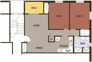 Type C, 2 Bedroom 1 Bath Floor Plan at Johnson Med Center Apartments, Kansas City,Kansas