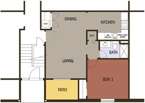 Type B, 1 Bedroom 1 Bath Floor Plan at Johnson Med Center Apartments, Kansas City, 66103
