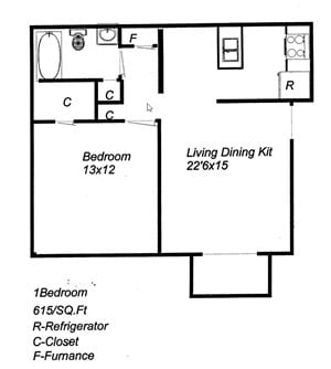 1 Bedroom 1 Bath Floor Plan at University Plaza, Kansas City
