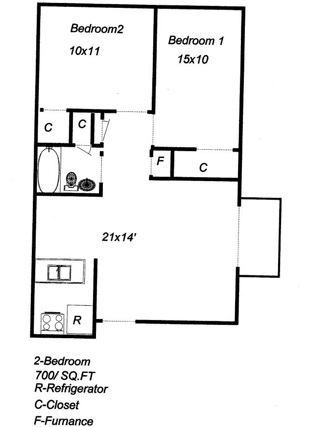 2 Bedroom 1 Bath Floor Plan at University Plaza, Kansas City,Kansas