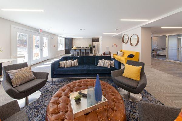 Community Room with Kitchen at Linea Cambridge, Cambridge,Massachusetts