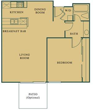 1 Bed 1 Bath The Olive Floorplan at Hills at Hacienda Heights, Hacienda Heights, CA, 91745