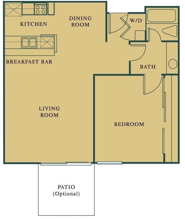 1 Bed 1 Bath The Citrus Floorplan at Hills at Hacienda Heights, Hacienda Heights, CA, 91745