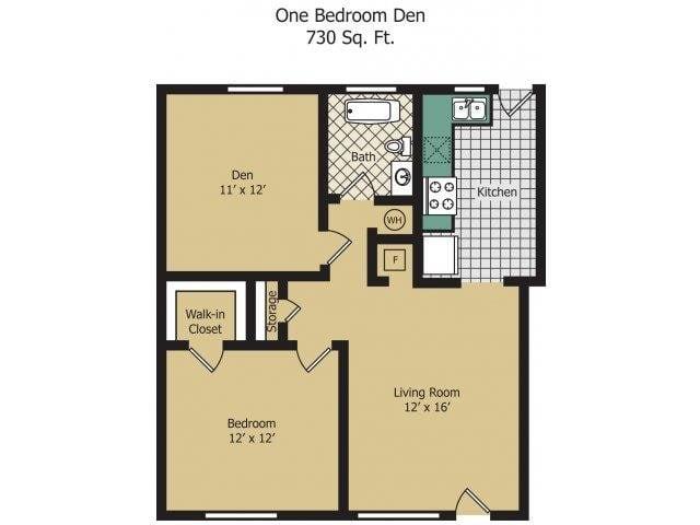 One Bedroom w/ Den Floor Plan 2