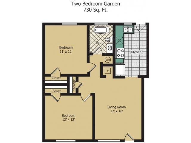 Two Bedroom Floor Plan 1