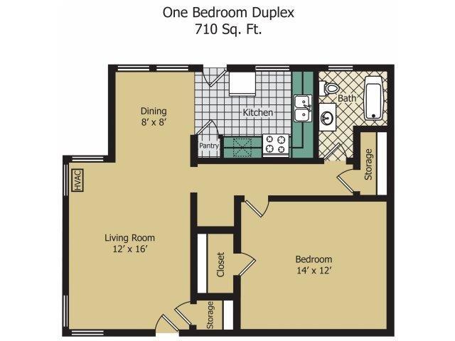 One Bedroom Duplex Floor Plan 4