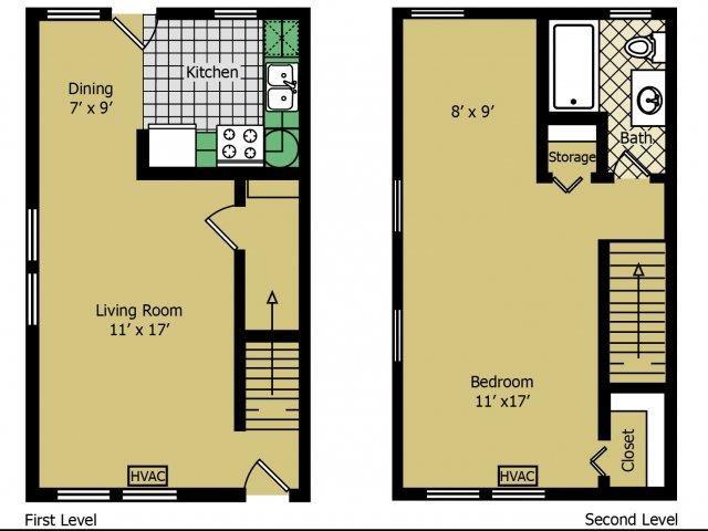 One Bedroom Loft Floor Plan 3