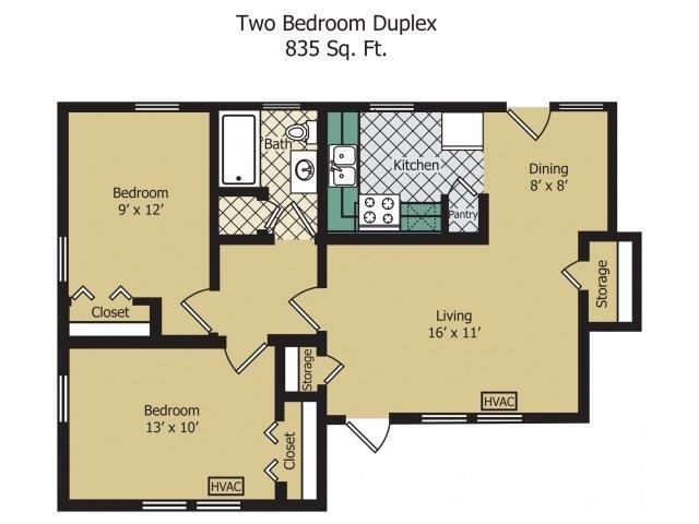 Two Bedroom Duplex Floor Plan 5