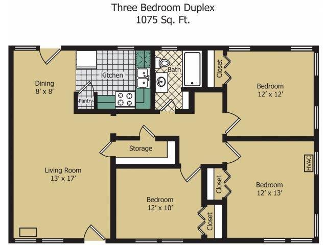 Three Bedroom Duplex Floor Plan 8