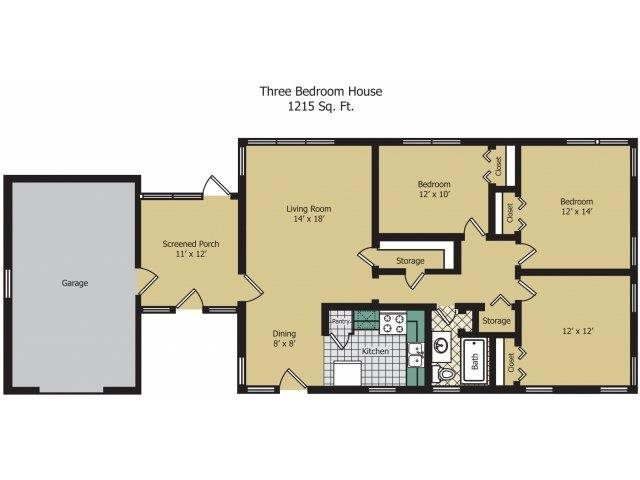 Three Bedroom House Floor Plan 9