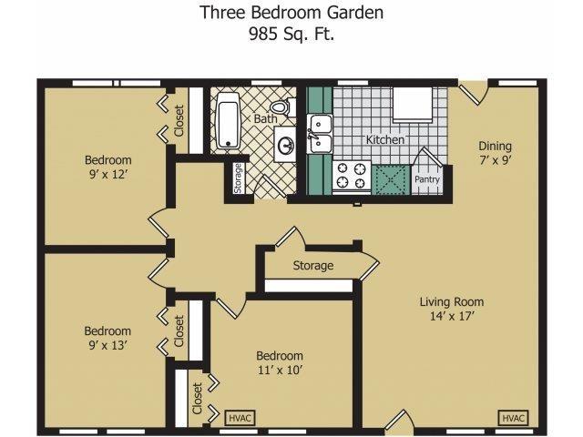 Three Bedroom Garden Floor Plan 6