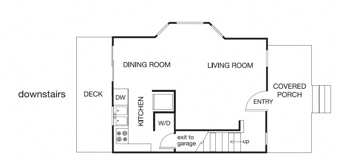 2 Bed 1Bath Floor Plan 1