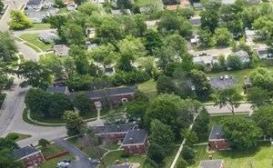birds eye view of Van Buren Village apartments in Kettering, OH