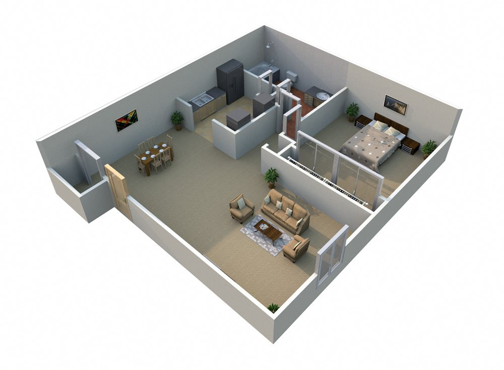 1 Bedroom Floorplan at Regents Court - Westland, MI