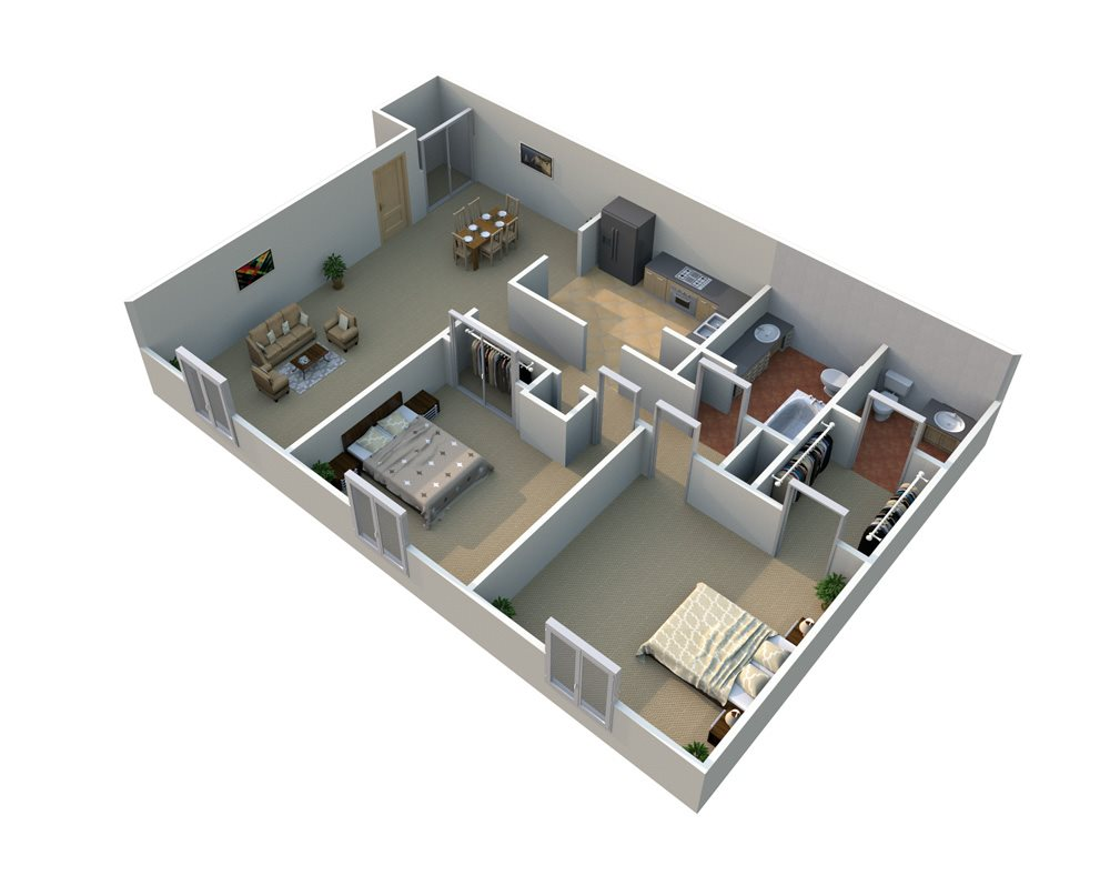 2 Bedroom Floorplan at Regents Court - Westland, MI