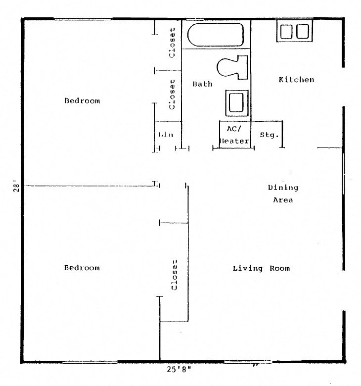 Lakewood Terrace Floor Plan 2 bed 1 bath
