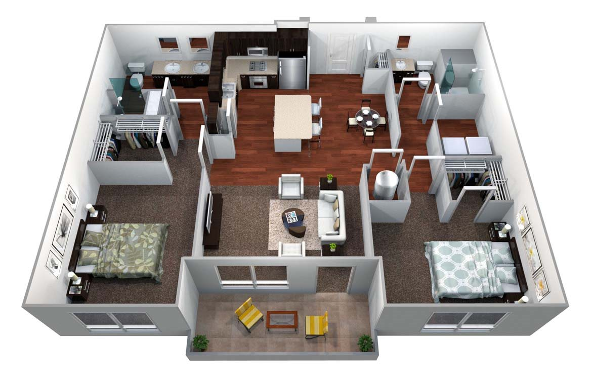 B2 2 Bed/2 Bath Floor Plan 3