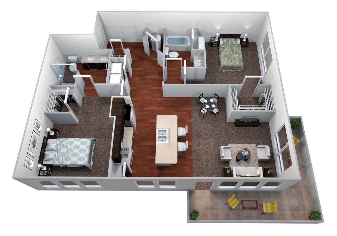 B3 2 Bed/2 Bath Floor Plan 4