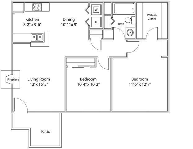 Two Bedroom Apartment Floor Plan 3