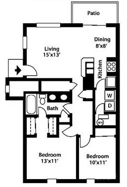 College Park Apartments 2 bed 1 bath floor plan