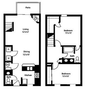 College Park Apartments 2 bed 1 bath townhome floor plan