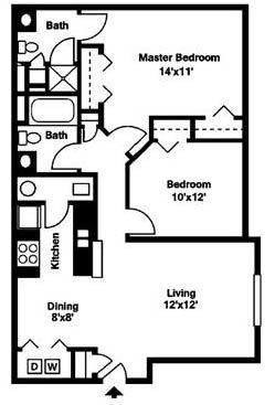 Gateway Lakes Apartments 2 bed 2 bath apartments
