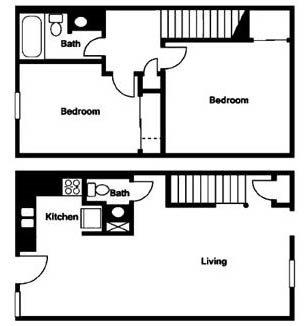 Worthington Meadows Townhomes 2 bed 1.5 bath floor plan