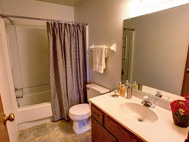 Bathroom featuring bathtub, toilet, towel bar, large sink area, and mirror at Worthington Meadows Townhomes in Columbus, Ohio 43085
