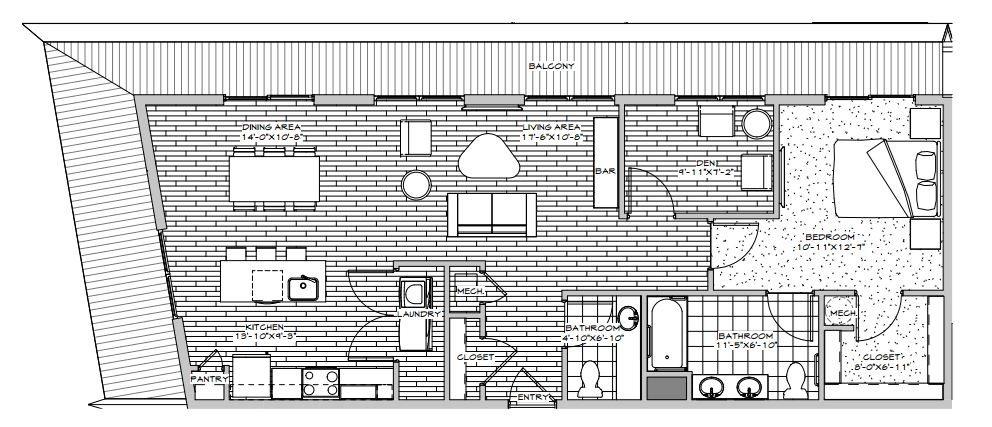 Penthouse with Den Floor Plan 3