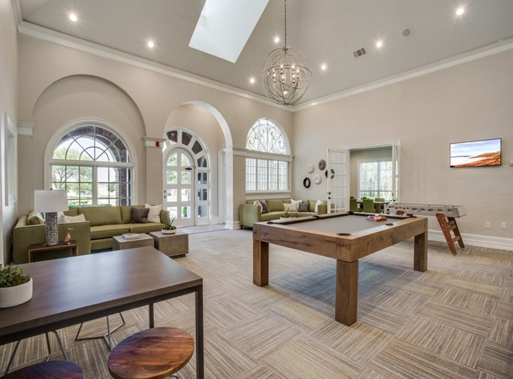 Lounge With Pool Table at The Giovanna, Plano, TX, 75074