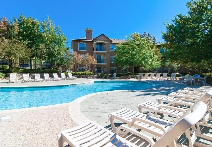 Resort Style Pools With Relaxing Lounge Chairs at The Giovanna, Plano, TX,75074