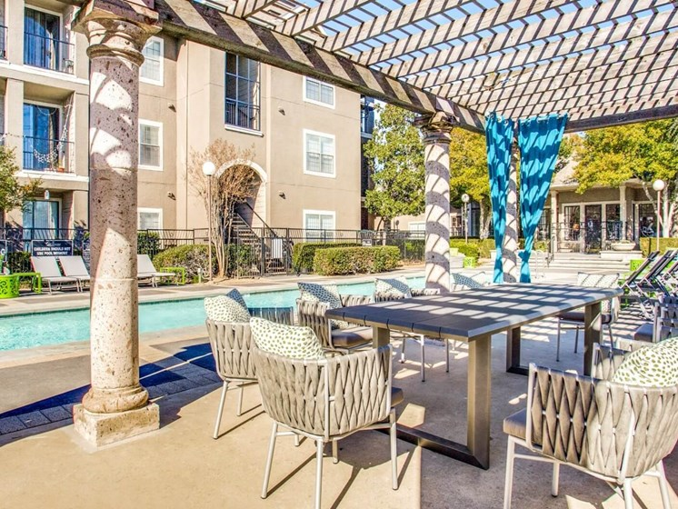 Picturesque Pool And Cabana Setting at The Gio, Plano, TX