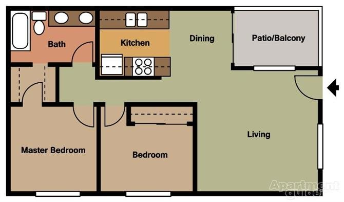 2 Bed 1 Bath Floorplan at Terramonte Apartment Homes, Pomona, California