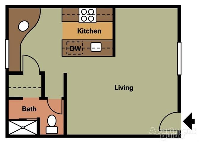 Studio Floorplan at Terramonte Apartment Homes, 91767, California