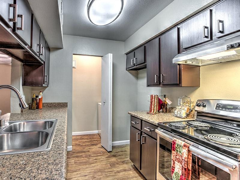 Fully equipped kitchen at St. Lucia Apartments, Las Vegas, NV,89128